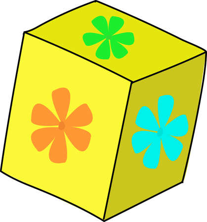Yellow block with colorful flowers on facets.