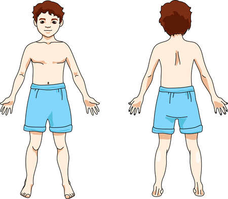 The body of a man in shorts. Front and rear view.