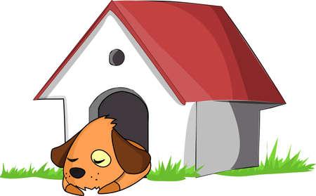 Un perro en una casa de perro blanco en la hierba verde.