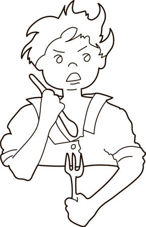 The boy holds in his hands cutlery - fork, spoon. Contour on a white background.