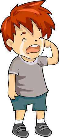 A crying boy in gray t-shirt and shorts. Çizim