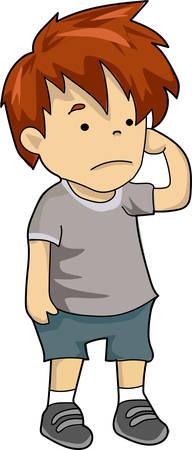 A sad boy in gray t-shirt and shorts. Çizim