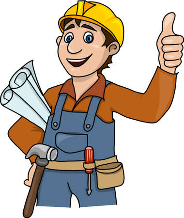 belt up: A man in a yellow helmetin, in work clothes, with construction tools.