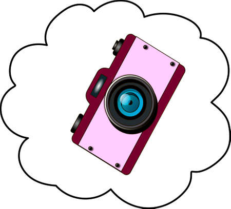 The pink ladies` camera on a white background. A vision, a dream.