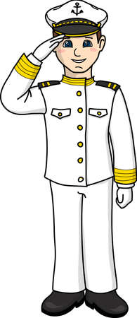 The captain in a white uniform salutes.
