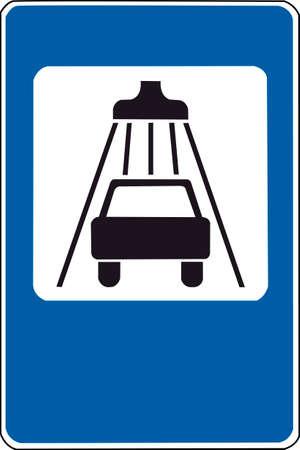Sign of car wash. Rectangular blue road sign.