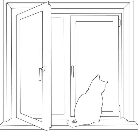 The contour of the open window with the cat on the windowsill. Illustration