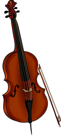 The brown classic cello on a white background.