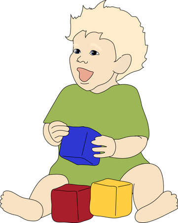 A laughing child in green clothes plays with cubes. Çizim