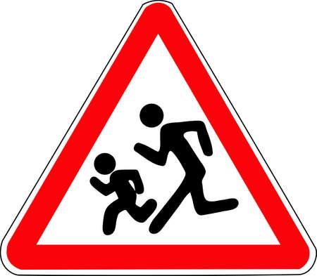 A triangular red road sign. Caution children.