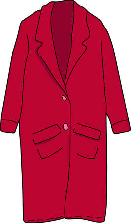 The red long coat on a white background.