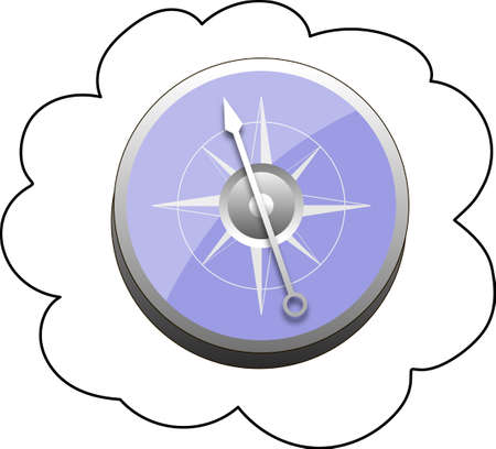 Compass in blue body on a white background.
