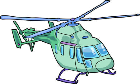 The green helicopter on a white background.