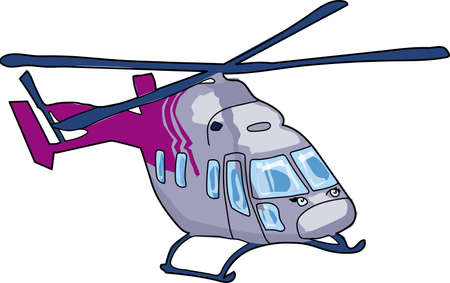 The gray helicopter with purple tail`s part. Çizim