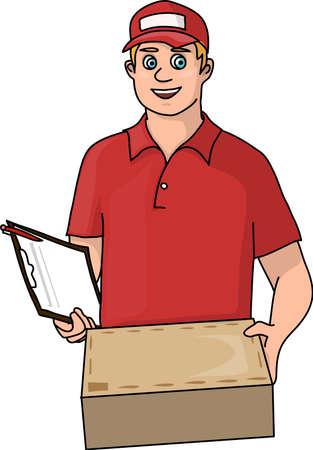 Courier in orange uniform with a parcel in hands. Иллюстрация