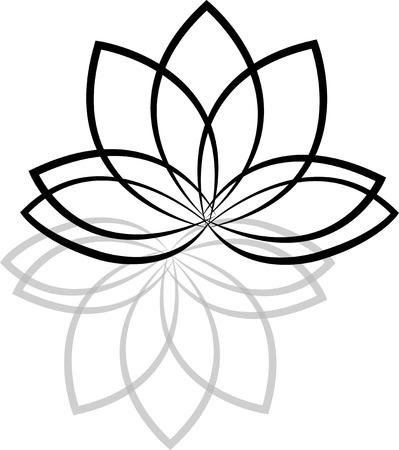 Lotus fleurs silhouettes sur fond blanc