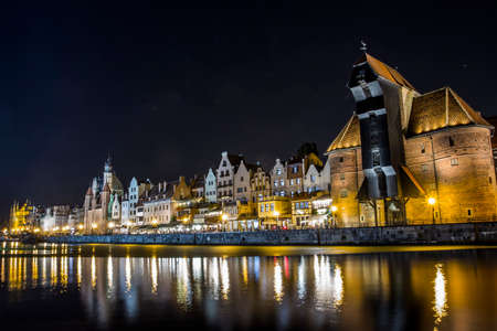 Historical buildings at the Gdansk at night. Poland
