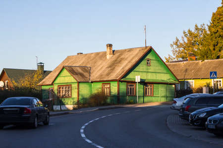 Historic wooden house on the streets of Trakai. Lithuania