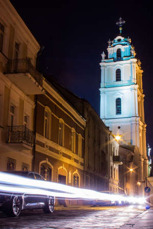 Street in the Old Town of Vilnius at night. Lithuania