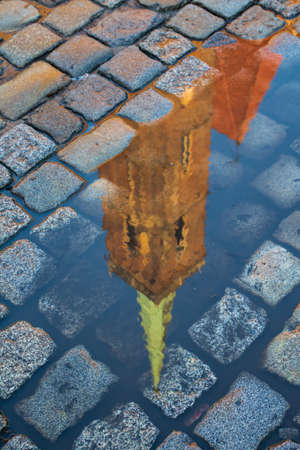 Reflection in the puddle roof of collegiate Church of the Holy Cross and St. Bartholomew, Wroclaw. Poland 版權商用圖片 - 130731128