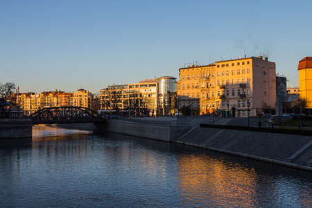 View of the river embankment in the city of Wroclaw. Poland 版權商用圖片