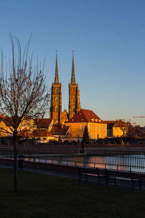 View on The Cathedral of St. John the Baptist in Wrocaw at sunset. Poland 版權商用圖片 - 130731945