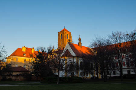 View on Roman Catholic parish church NMP on the Sand in Wroclaw at sunset. Poland