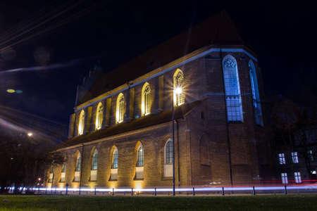 Corpus Christi Church is a Gothic church in Wroclaw at night, Poland