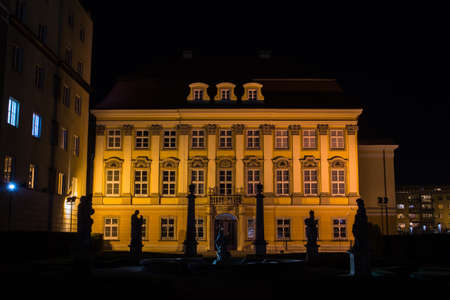 Royal Palace in the Old Town at night. Poland