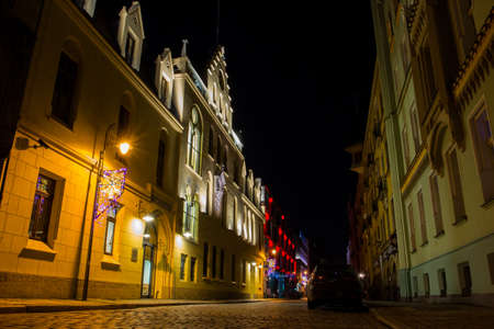 Night street in old town of Wroclaw. Poland
