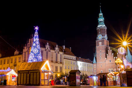 Christmas fair in Wroclaw at night. Poland