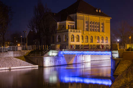View of the river embankment in the city of Wroclaw at night. Poland