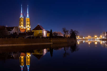 View on The Cathedral of St. John the Baptist in Wrocaw at night. Poland