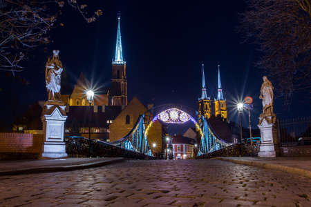 Night view of the historic district of Wroclaw. Poland 版權商用圖片