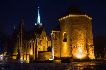 Night view of St. Martins Church in Wroclaw. Poland