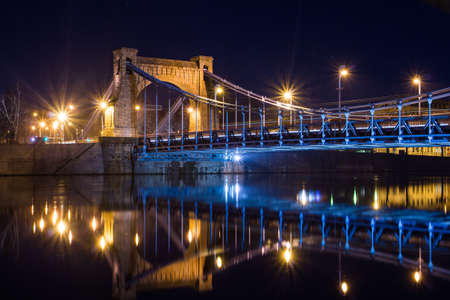 View of the Grunwald Bridge in Wroclaw at night. Poland