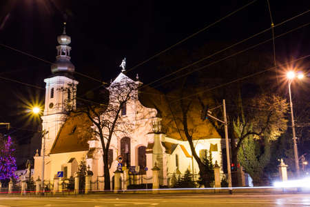 Night view of St. Christopher Lutheran Church in Wroclaw. Poland