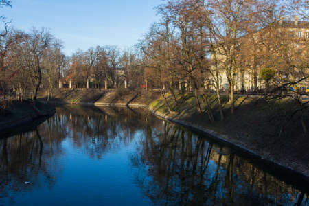 City water canal in Wroclaw in the morning. Poland