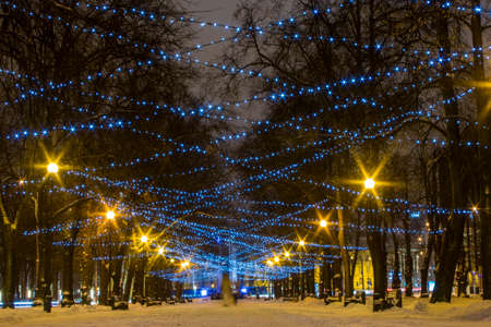 Christmas illuminations in Tallinn Park. Estonia