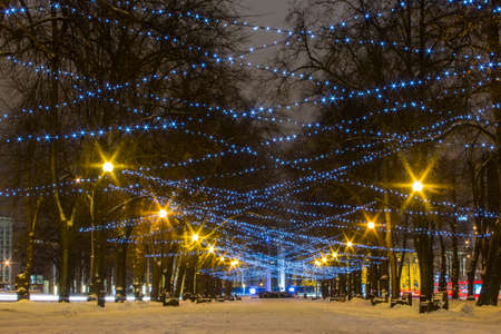 Christmas illuminations in Tallinn Park. Estonia 版權商用圖片 - 132641817