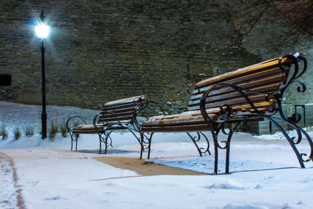 Benches in Tallinn night park. Estonia