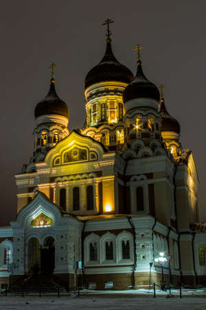 Night view of a Alexander Nevsky Cathedral in Tallinn. Estonia