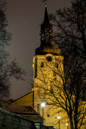 Night view of Cathedral of Saint Mary the Virgin in Tallinn. Estonia 版權商用圖片