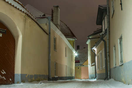 Night street in the Old Town of Tallinn. Estonia