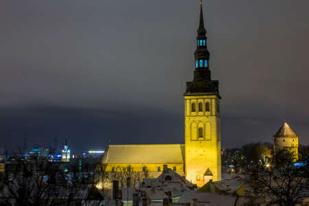 Night view of St. Olafs Church in Tallinn. Estonia 版權商用圖片