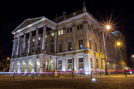 Wroclaw Opera House in Old Town at night. Poland