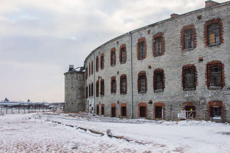 View of the abandoned Tallinn Battery Prison building in winter. Estonia