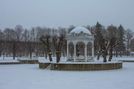 Snowfall in Tallinn. Beautiful gazebo on an island in the middle of a pond in winter. Estonia 版權商用圖片