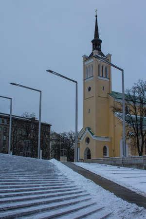 View of St. Johns Church in Tallinn Old Town in winter. Estonia 版權商用圖片