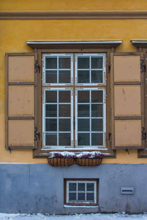 Historic window frame in Tallinn Old Town. Estonia 版權商用圖片